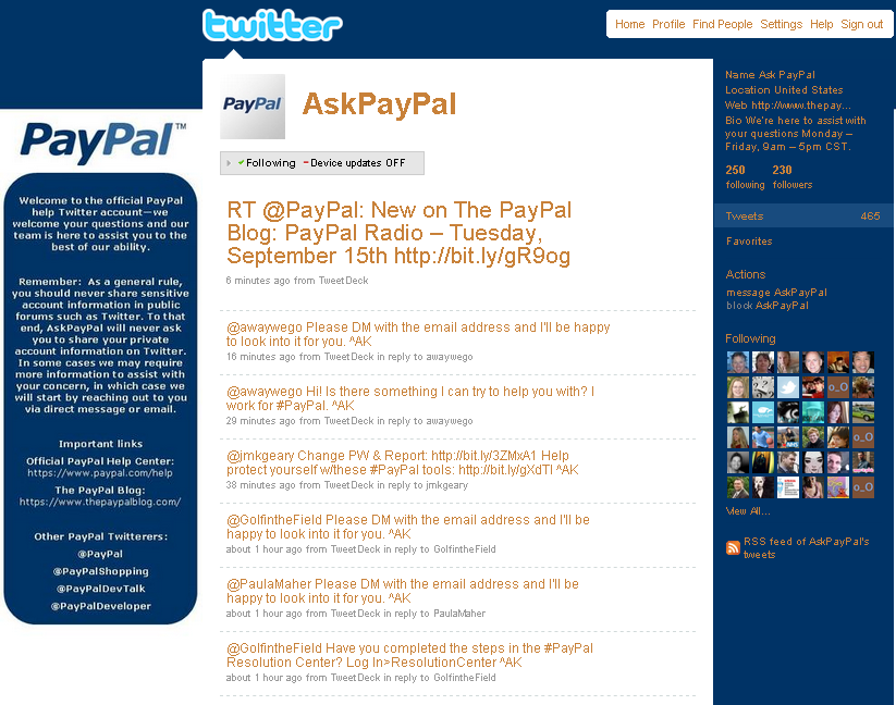 Paypal on twitter to solve account issues