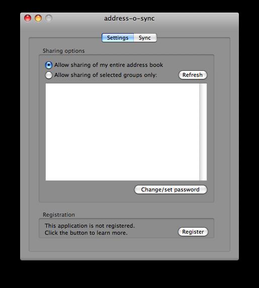 address book sync settings