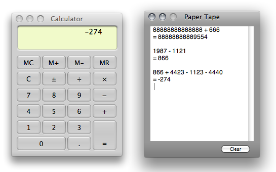 calculator paper tape