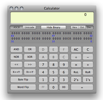calculator programmer view