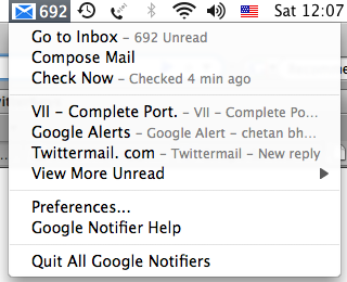 Google notifier for Mac – Check mail and calender events