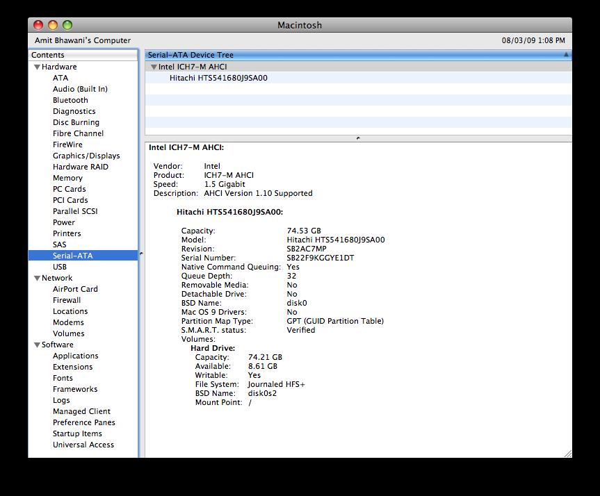 mac serial ata data space