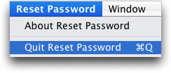 reset password quit utility