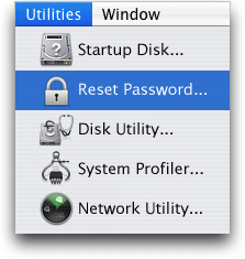 reset password utility menu