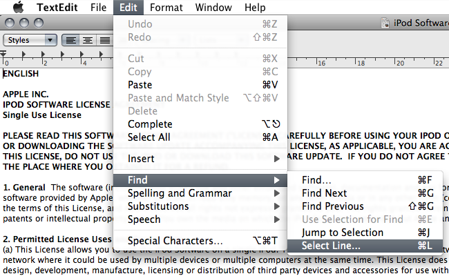 How to: Going to a specific line in Mac textedit application