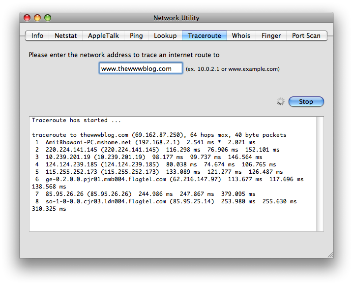 traceroute network utility details