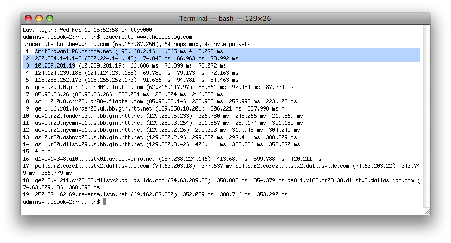 traceroute terminal