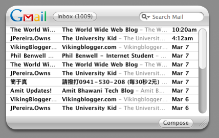 Google Gmail widget in Macbook dashboard