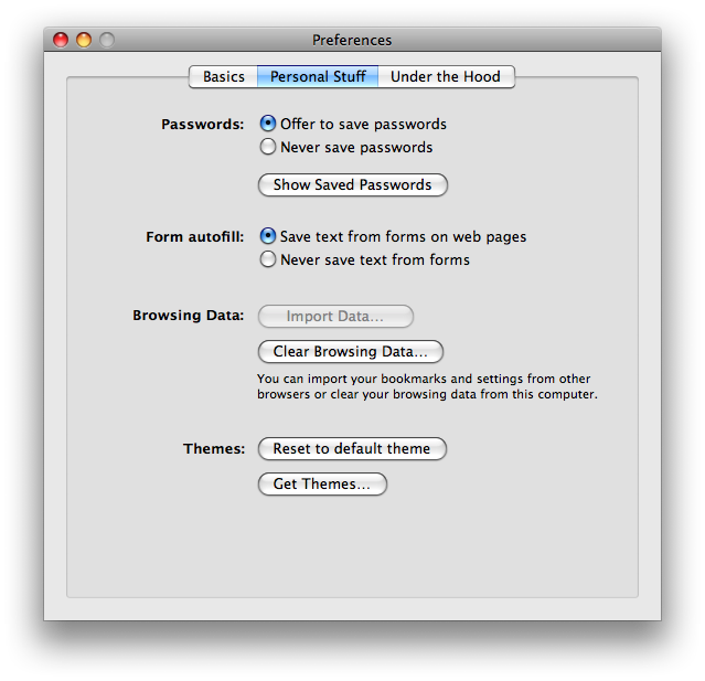 chrome mac personal settings