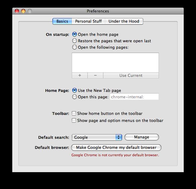chrome mac preferences