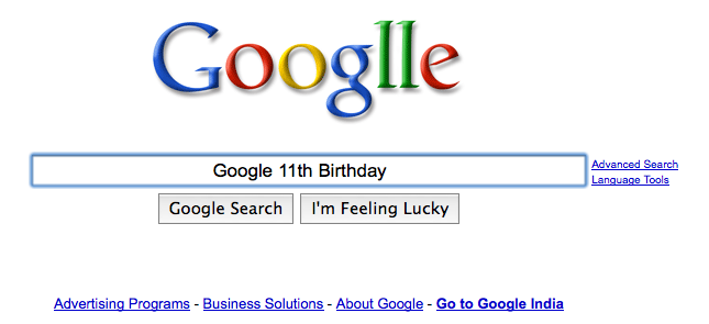 google 11th birthday