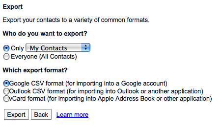 google contacts exporting backup