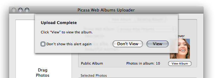picasa upload complete