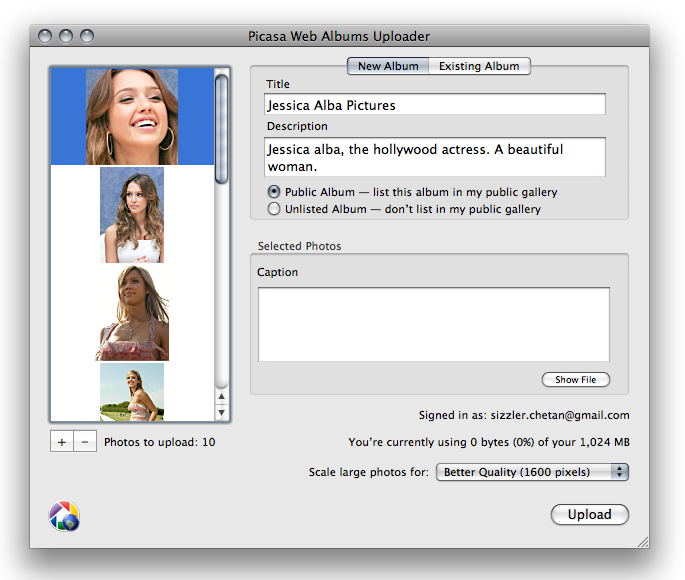 picasa uploader mac album