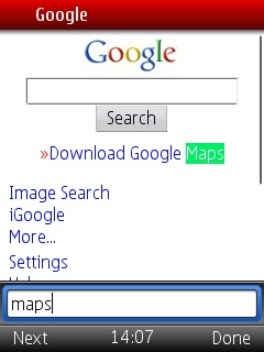 opera mini 5 page search
