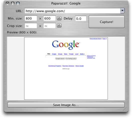Take screenshots of websites in Mac OS X – Paparazzi