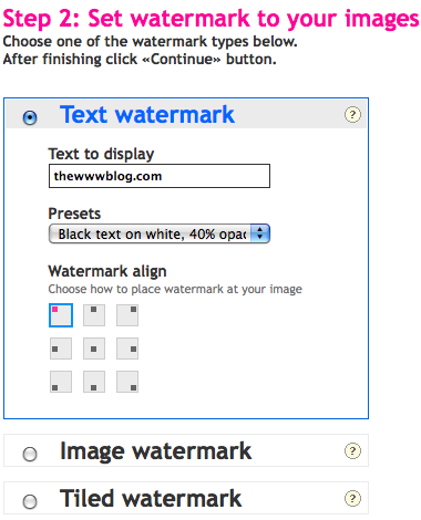 set watermark images