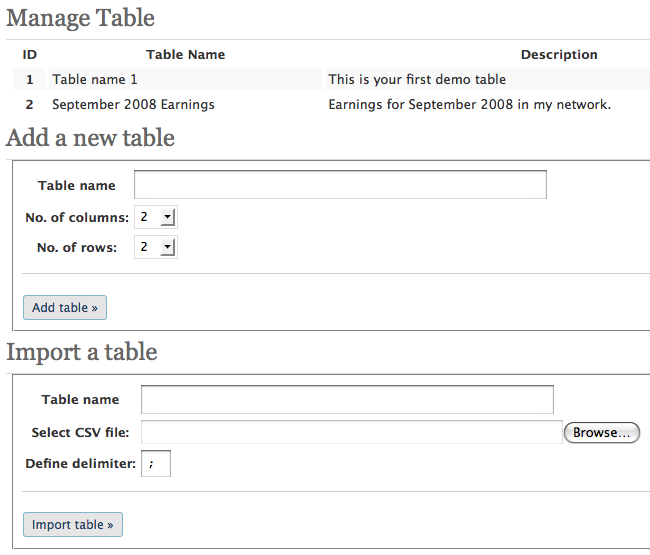 wp-table manage