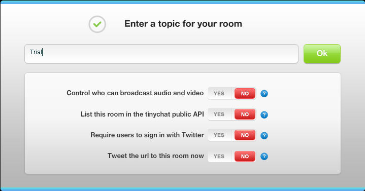tinychat options