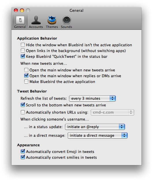 Bluebird – A twitter client for Mac OS X