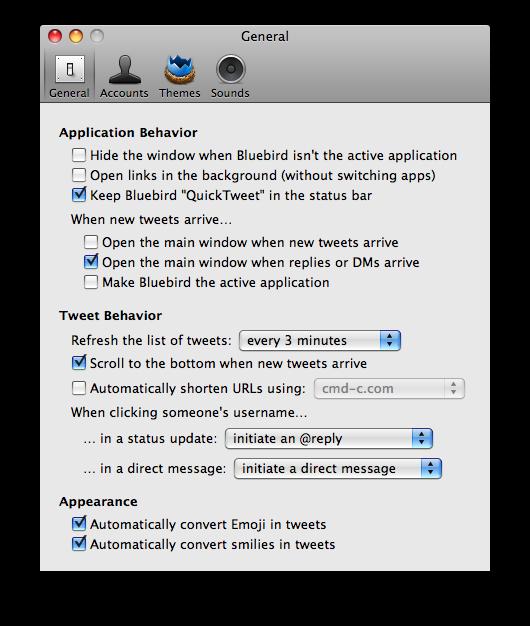 bluebird twitter app preferences