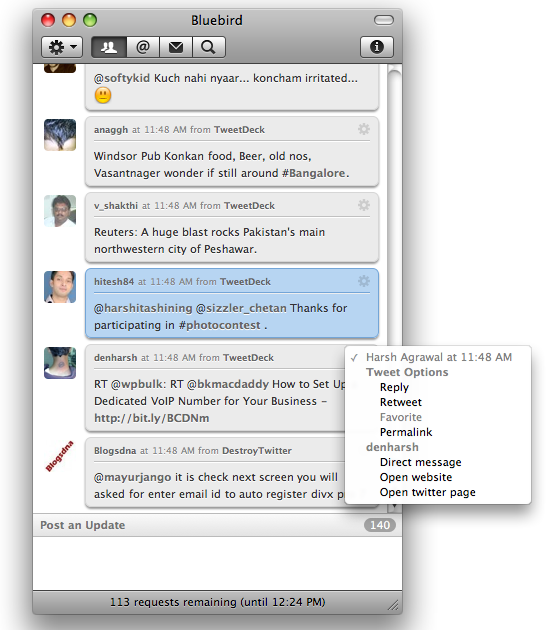 bluebird tweet options