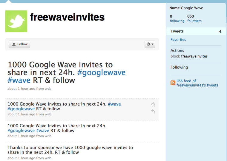 google wave invites twitter