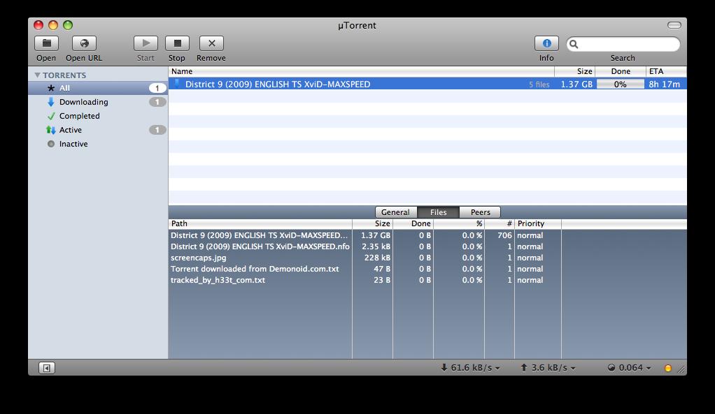 utorrent files list