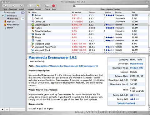 Versiontracker Mac application