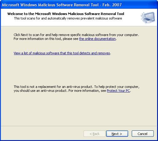 Download Microsoft Malicious Software Removal Tool