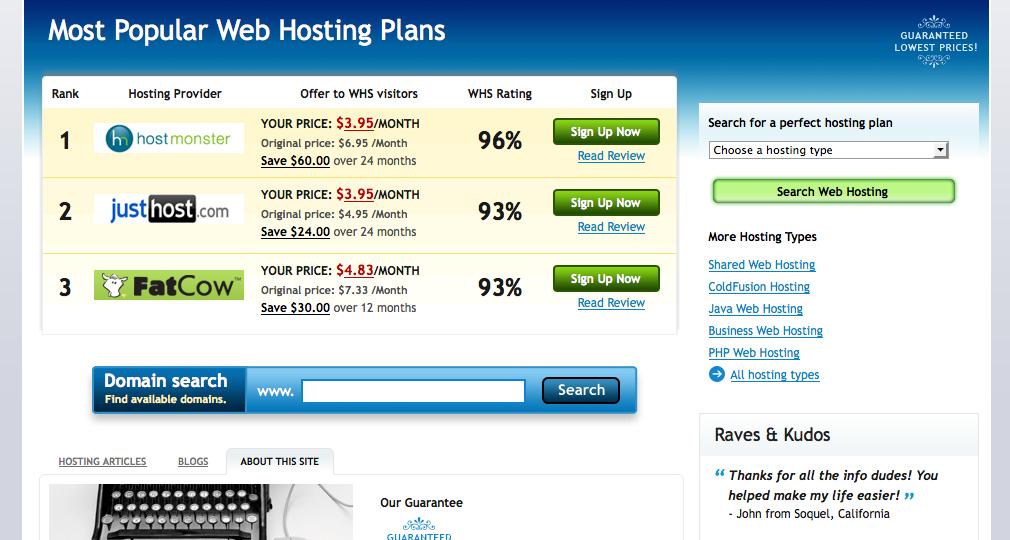 webhostingsearch website