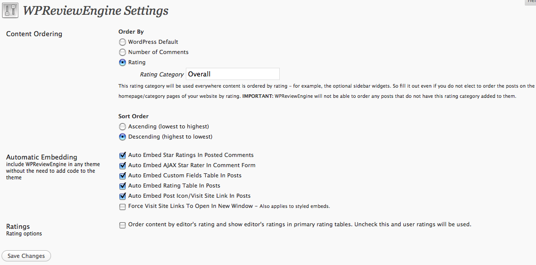 wpreviewengine settings