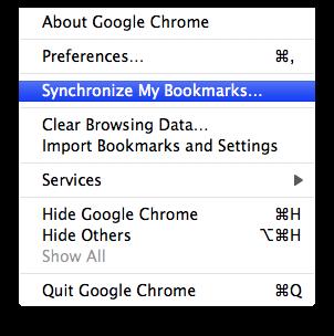 chrome sync bookmarks