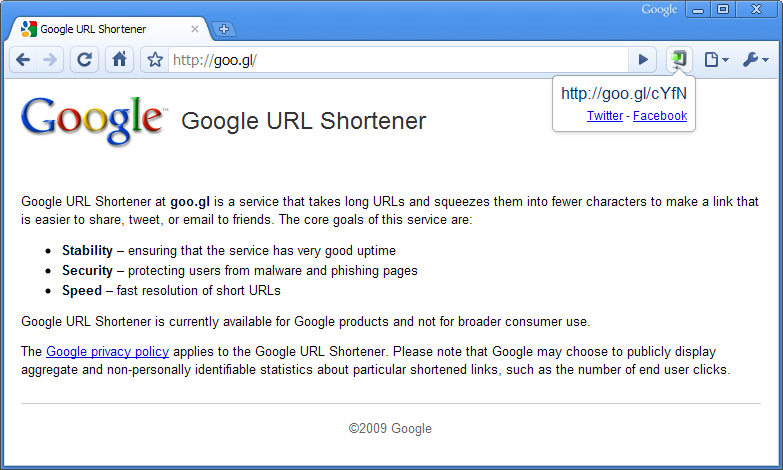 Goo.gl URL shortener extension for Google Chrome browser