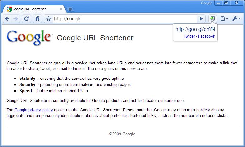 Goo.gl URL shortener extension for Google Chrome browser