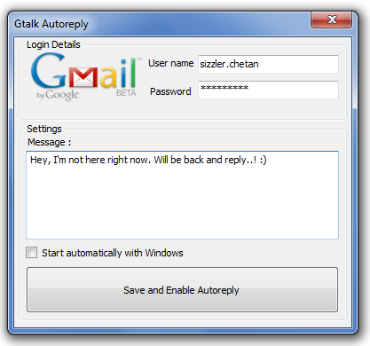 gtalk autoreply window