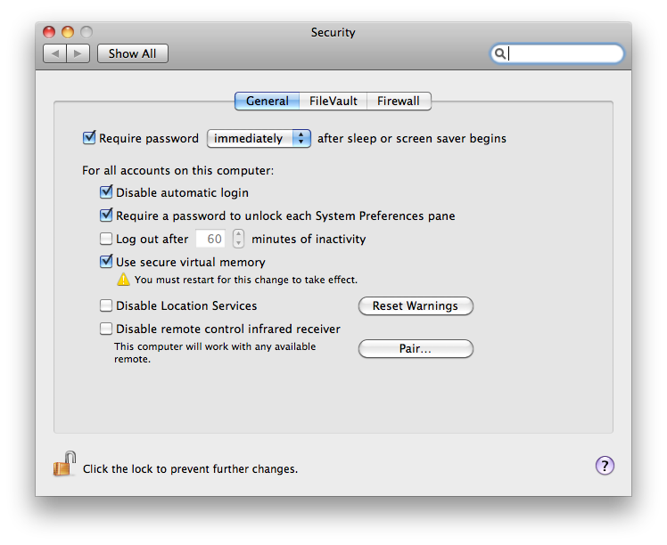 mac security settings