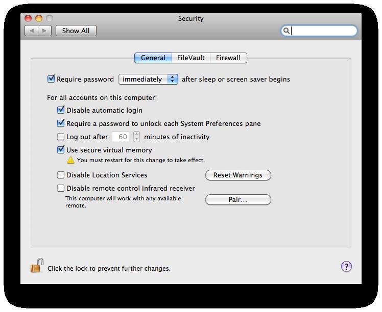 mac security settings