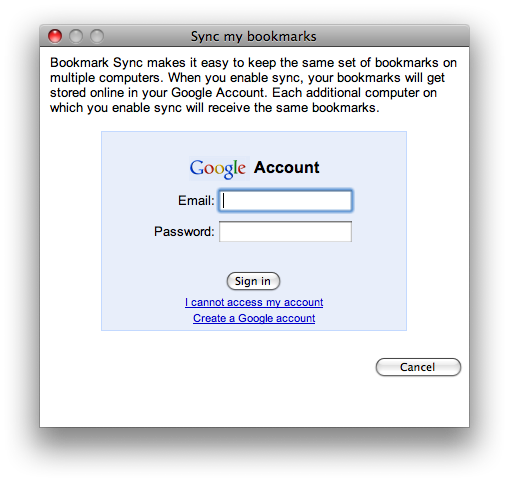 chrome sync bookmarks login
