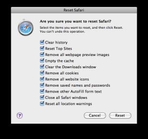 Reset Data Safari Browser
