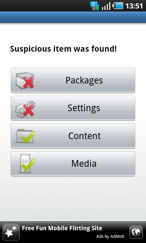 android antivirus suspicion found