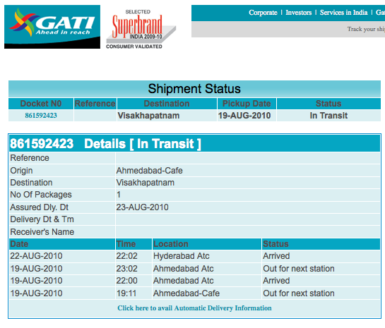 gati courier track online status