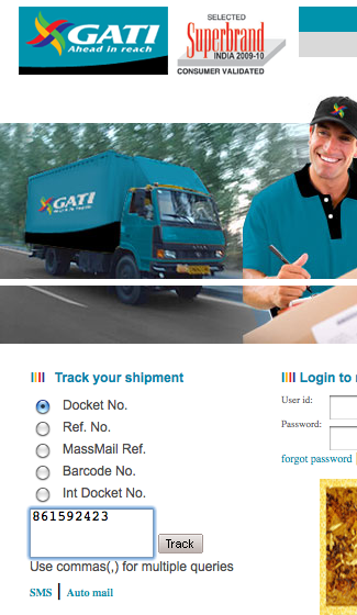 How to track GATI courier status online and offline