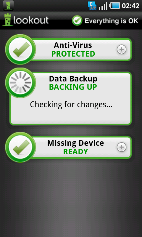 lookout backing up data