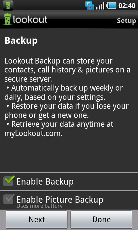 lookout backup feature
