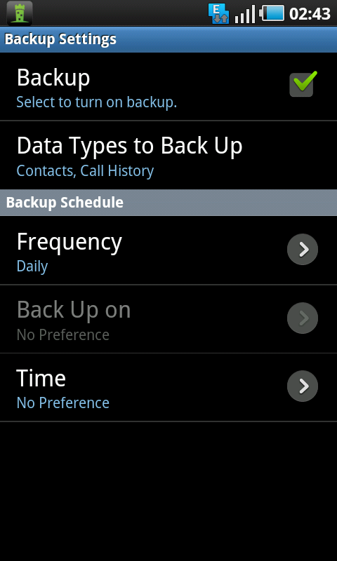 lookout backup settings