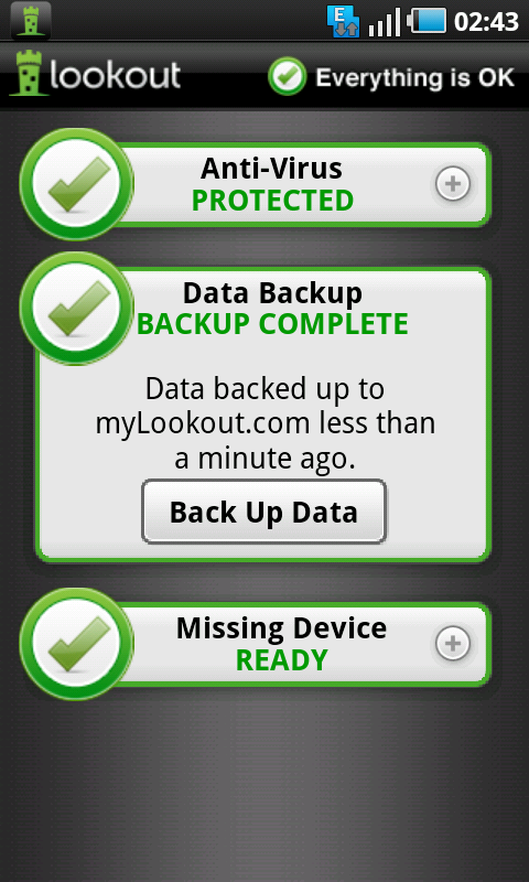 lookout data backup done