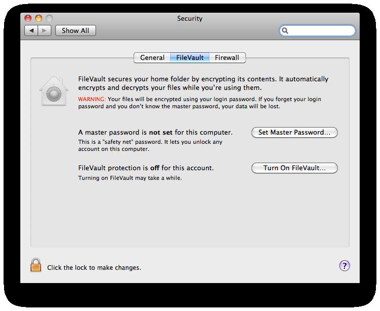 mac security firevault