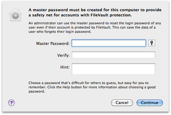 mac set master password