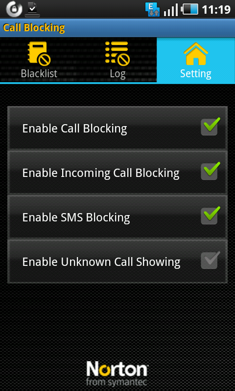 norton call blocking settings
